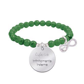 Life is dream bracciale elastico con agata sfaccettata medaglia in acciaio con incisione e charm con zirconi B14237 For You Jewels