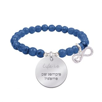 Life is dream bracciale elastico con agata sfaccettata medaglia in acciaio con incisione e charm con zirconi B14238 For You Jewels