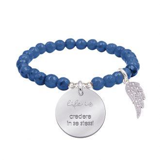 Life is dream bracciale elastico con agata sfaccettata medaglia in acciaio con incisione e charm con zirconi B14240 For You Jewels