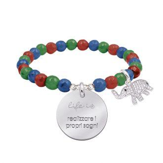 Life is dream bracciale elastico con agata sfaccettata medaglia in acciaio con incisione e charm con zirconi B14242 For You Jewels
