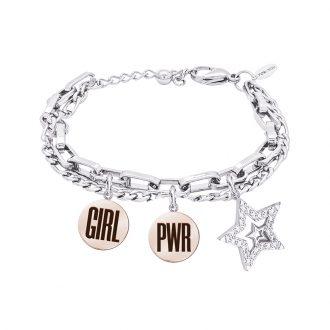 POP Bracciale e medaglie in acciaio incisione smaltata charms in ottone rodiato e zirconi B14266 For You Jewels