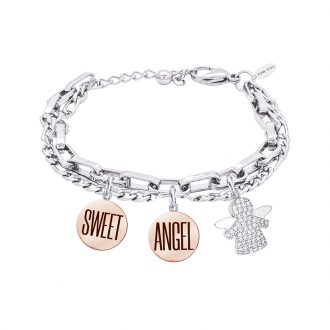 POP Bracciale e medaglie in acciaio incisione smaltata charms in ottone rodiato e zirconi B14270 For You Jewels