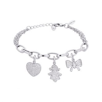 POP Bracciale in acciaio e charms in ottone rodiato e zirconi B14254 For You Jewels