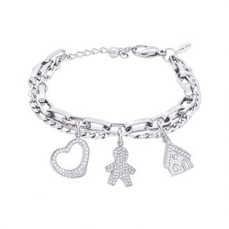 POP Bracciale in acciaio e charms in ottone rodiato e zirconi B14255 For You Jewels