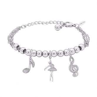 POP Bracciale in acciaio e charms in ottone rodiato e zirconi B14256 For You Jewels