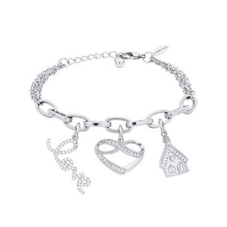 POP Bracciale in acciaio e charms in ottone rodiato e zirconi B14257 For You Jewels