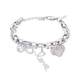 POP Bracciale in acciaio e charms in ottone rodiato e zirconi B14258 For You Jewels