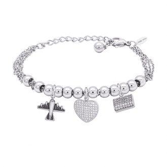 POP Bracciale in acciaio e charms in ottone rodiato e zirconi B14259 For You Jewels