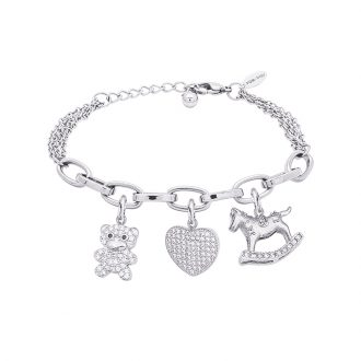 POP Bracciale in acciaio e charms in ottone rodiato e zirconi B14260 For You Jewels