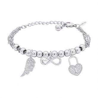 POP Bracciale in acciaio e charms in ottone rodiato e zirconi B14262 For You Jewels