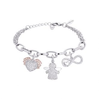 POP Bracciale in acciaio e charms in ottone rodiato e zirconi B14263 For You Jewels