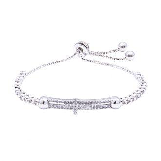 Violette bracciale regolabile in ottone rodiato e zirconi B11156 4 You Jewels