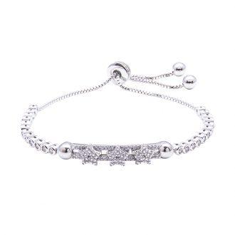 Violette bracciale regolabile in ottone rodiato e zirconi B11157 4 You Jewels