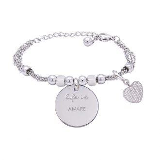 Bracciale Life Is Amare in acciaio, medaglia in acciaio e charm in ottone rodiato e zirconi B09780 For You Jewels