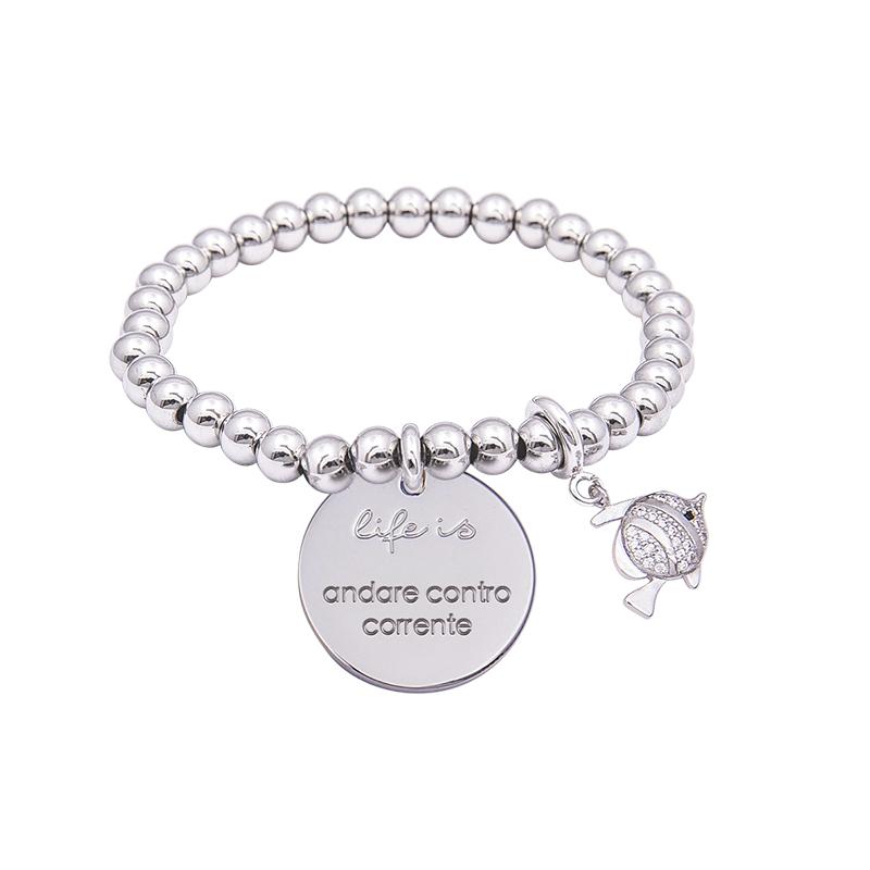Bracciale Life Is Andare Contro Corrente in acciaio, medaglia in acciaio e charm in ottone rodiato e zirconi B09791 For You Jewels