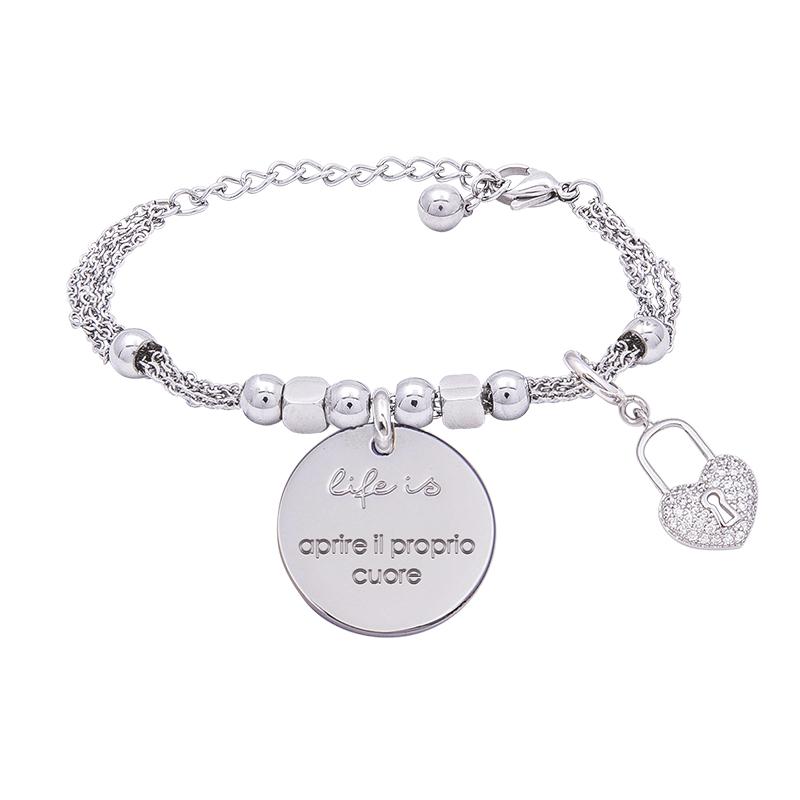 Bracciale Life Is Aprire Il Proprio Cuore in acciaio, medaglia in acciaio e charm in ottone rodiato e zirconi B09782 For You Jewels