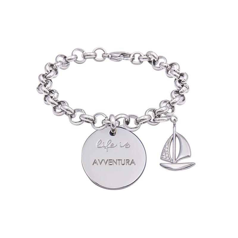 Bracciale Life Is Avventura in acciaio, medaglia in acciaio e charm in ottone rodiato e zirconi B09800 For You Jewels