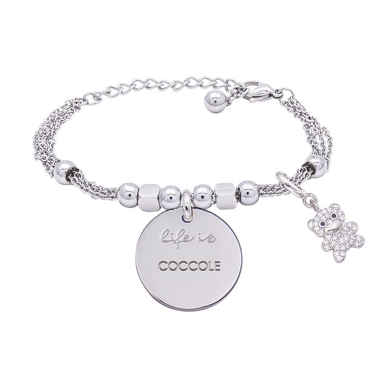 Bracciale Life Is Coccole in acciaio, medaglia in acciaio e charm in ottone rodiato e zirconi B09783 For You Jewels