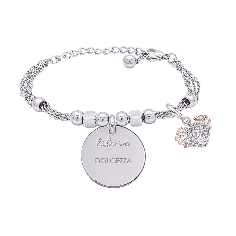 Bracciale Life Is Dolcezza in acciaio, medaglia in acciaio e charm in ottone rodiato e zirconi B09781 For You Jewels