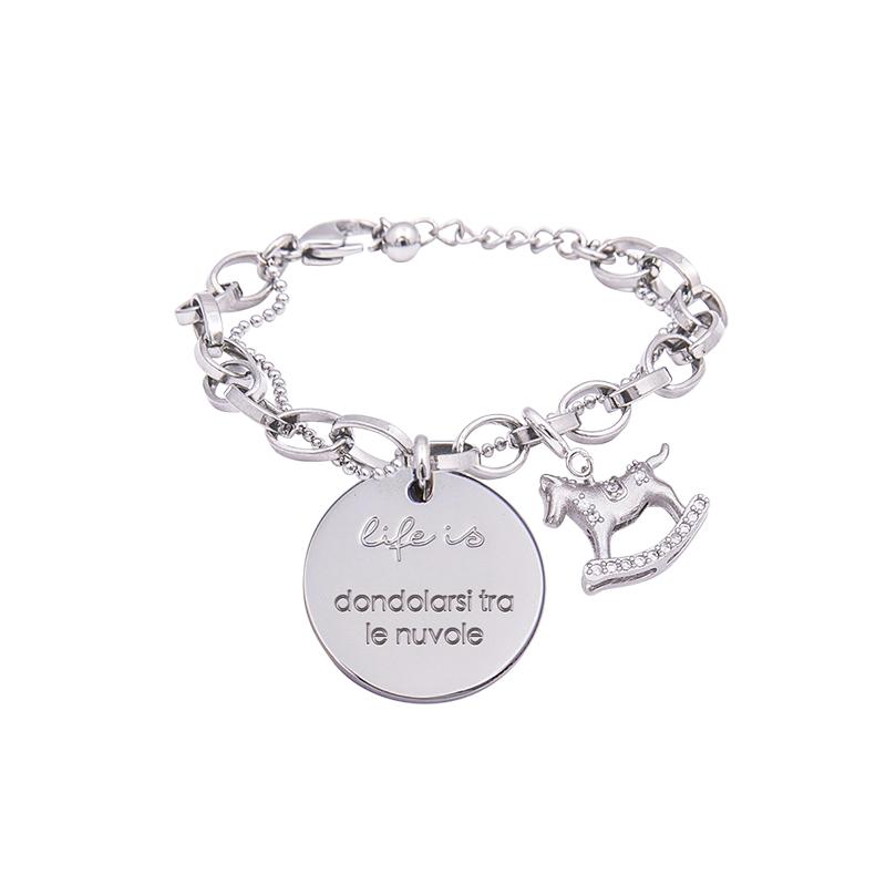 Bracciale Life Is Dondolarsi Tra Le Nuvole in acciaio, medaglia in acciaio e charm in ottone rodiato e zirconi B09804 For You Jewels