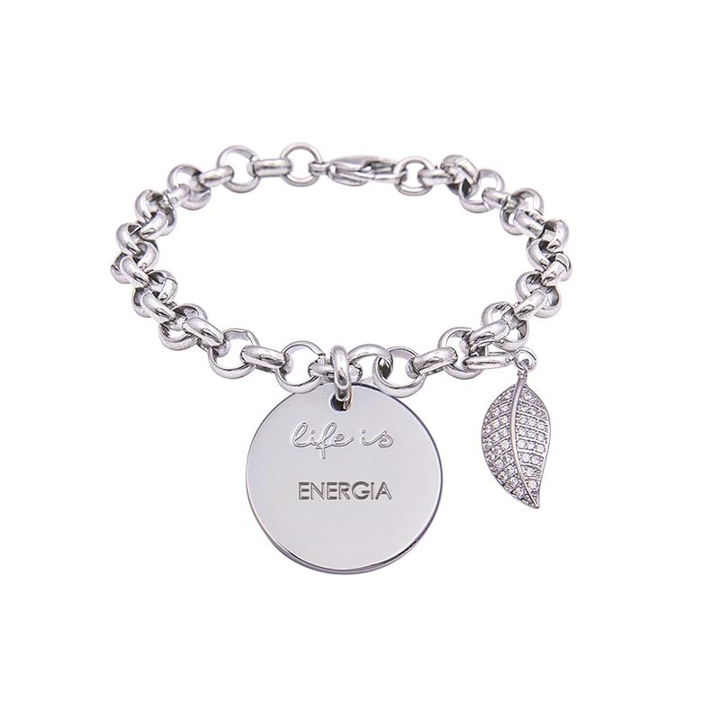 Bracciale Life Is Energia in acciaio, medaglia in acciaio e charm in ottone rodiato e zirconi B09798 For You Jewels
