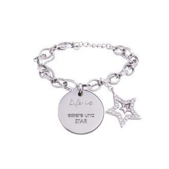 Bracciale Life Is Essere Una Star in acciaio, medaglia in acciaio e charm in ottone rodiato e zirconi B09807 For You Jewels