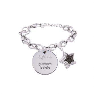 Bracciale Life Is Guardare Le Stelle in acciaio, medaglia in acciaio e charm in ottone rodiato e zirconi B09809 For You Jewels