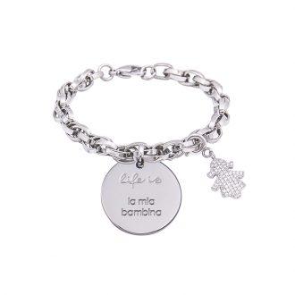 Bracciale Life Is La Mia Bambina in acciaio, medaglia in acciaio e charm in ottone rodiato e zirconi B09793 For You Jewels