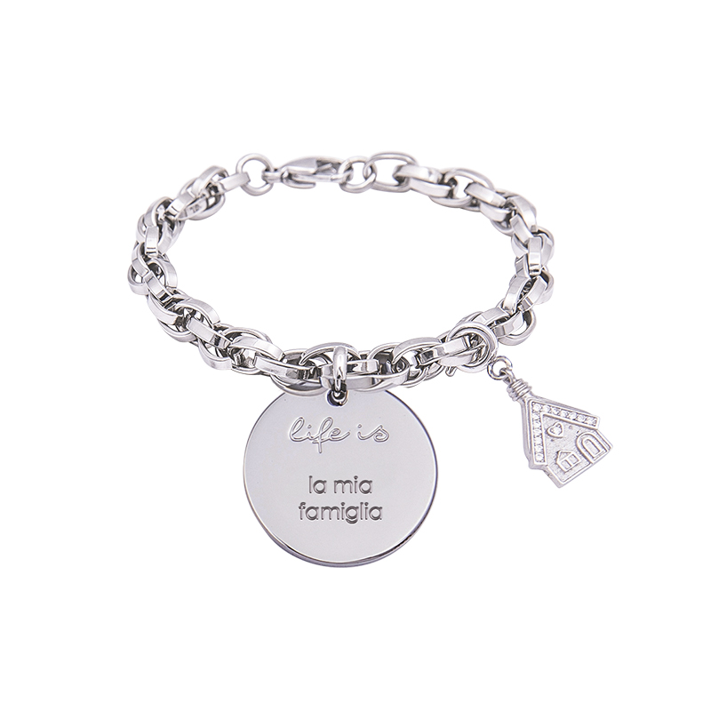 Bracciale Life Is La Mia Famiglia in acciaio, medaglia in acciaio e charm in ottone rodiato e zirconi B09792 For You Jewels