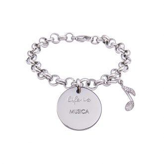 Bracciale Life Is Musica in acciaio, medaglia in acciaio e charm in ottone rodiato e zirconi B09802 For You Jewels