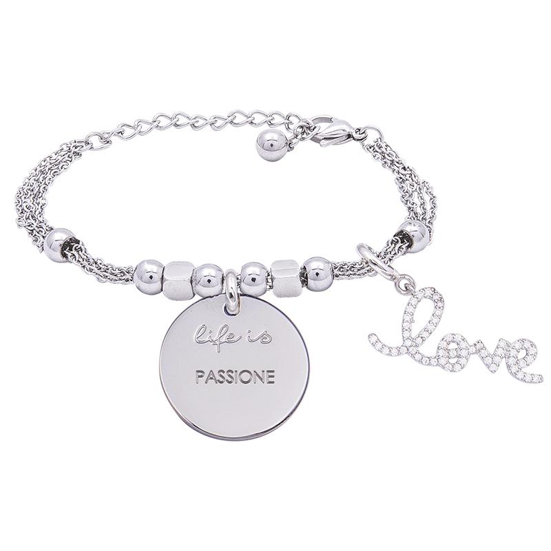 Bracciale Life Is Passione in acciaio, medaglia in acciaio e charm in ottone rodiato e zirconi B09785 For You Jewels