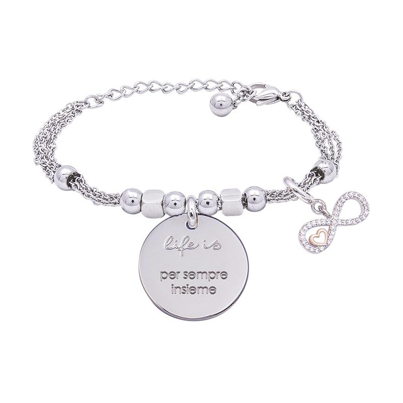 Bracciale Life Is Per Sempre Insieme in acciaio, medaglia in acciaio e charm in ottone rodiato e zirconi B09784 For You Jewels
