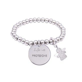 Bracciale Life Is Protezione in acciaio, medaglia in acciaio e charm in ottone rodiato e zirconi B09786 For You Jewels
