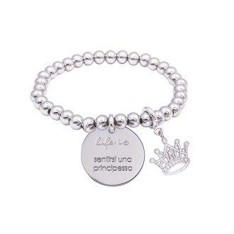 Bracciale Life Is Sentirsi Una Principessa in acciaio, medaglia in acciaio e charm in ottone rodiato e zirconi B09789 For You Jewels