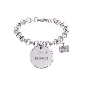 Bracciale Life Is Shopping in acciaio, medaglia in acciaio e charm in ottone rodiato e zirconi B09803 For You Jewels
