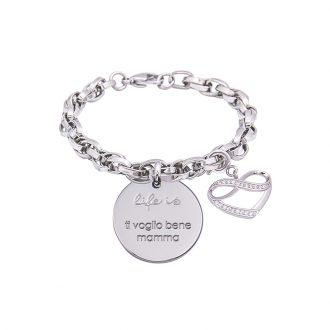 Bracciale Life Is Ti Voglio Bene Mamma in acciaio, medaglia in acciaio e charm in ottone rodiato e zirconi B09796 For You Jewels