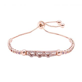 Violette bracciale regolabile in ottone rosato e zirconi B11152MP 4 You Jewels