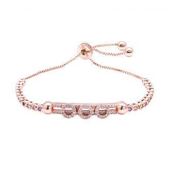 Violette bracciale regolabile in ottone rosato e zirconi B11153MP 4 You Jewels
