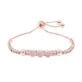 Violette bracciale regolabile in ottone rosato e zirconi B11154MP 4 You Jewels