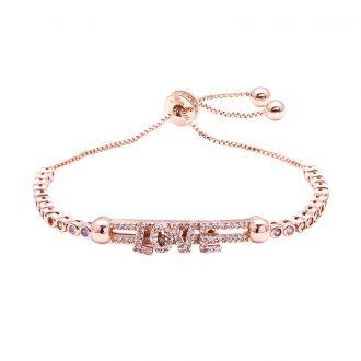 Violette bracciale regolabile in ottone rosato e zirconi B11155MP 4 You Jewels