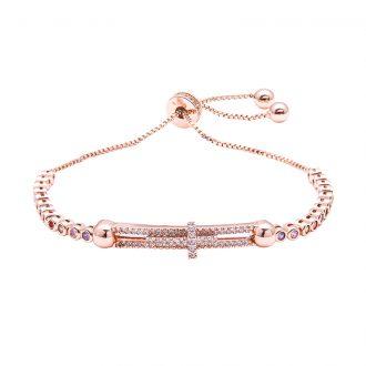 Violette bracciale regolabile in ottone rosato e zirconi B11156MP 4 You Jewels