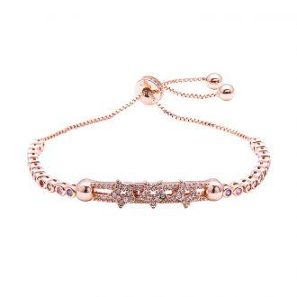 Violette bracciale regolabile in ottone rosato e zirconi B11157MP 4 You Jewels