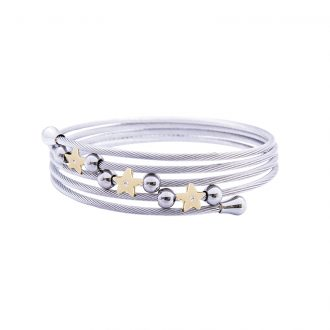 Amaryllis bracciale in acciaio e cristalli con IP oro B14174GP 4 You Jewels