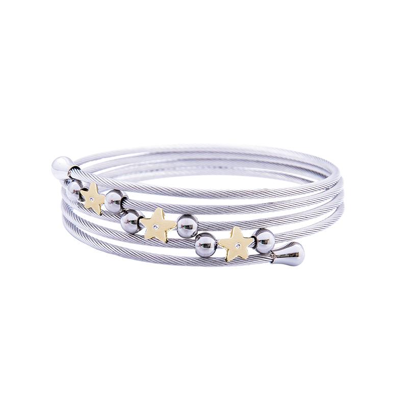 Amaryllis bracciale in acciaio e cristalli con IP oro B14174GP 4 You Jewels