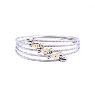 Amaryllis bracciale in acciaio e cristalli con IP oro B14176GP 4 You Jewels