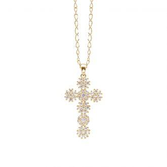 Flowers ciondolo in ottone dorato e zirconi e catenina in acciaio P15620GP For You Jewels
