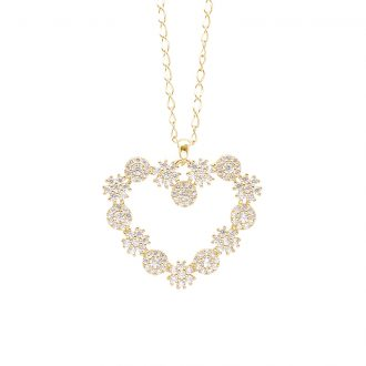 Flowers ciondolo in ottone dorato e zirconi e catenina in acciaio P15621GP For You Jewels