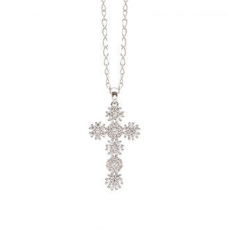 Flowers ciondolo in ottone rodiato e zirconi e catenina in acciaio P15620 For You Jewels