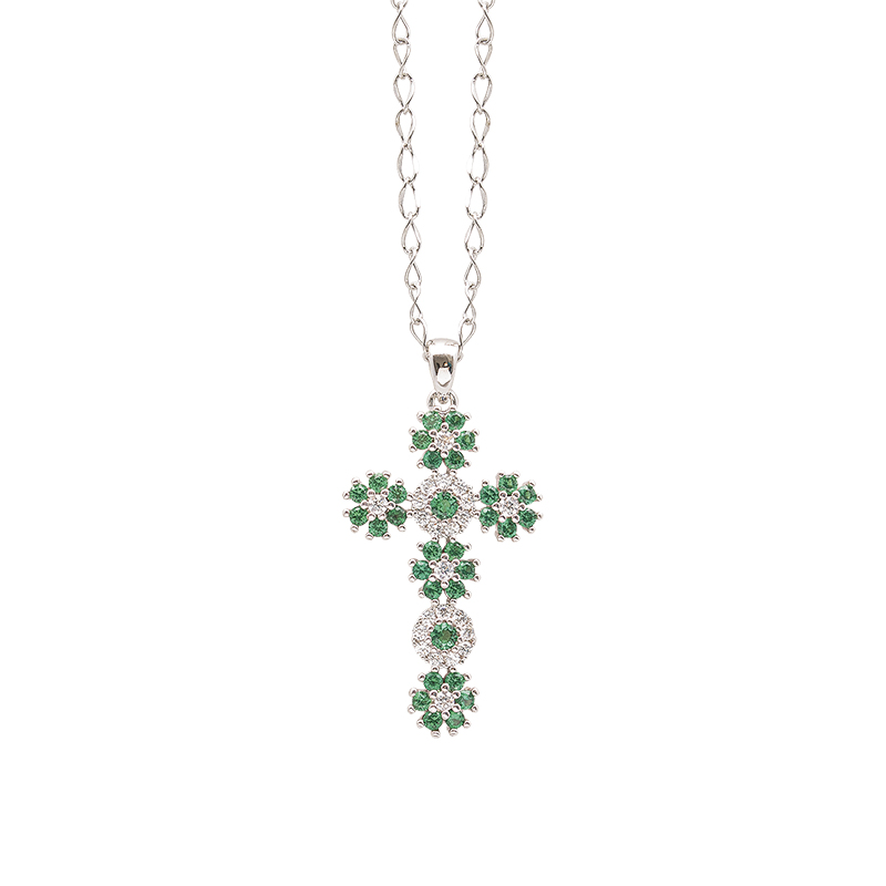 Flowers ciondolo in ottone rodiato e zirconi e catenina in acciaio P15620EM For You Jewels
