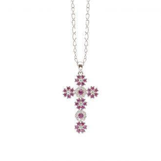 Flowers ciondolo in ottone rodiato e zirconi e catenina in acciaio P15620RB For You Jewels